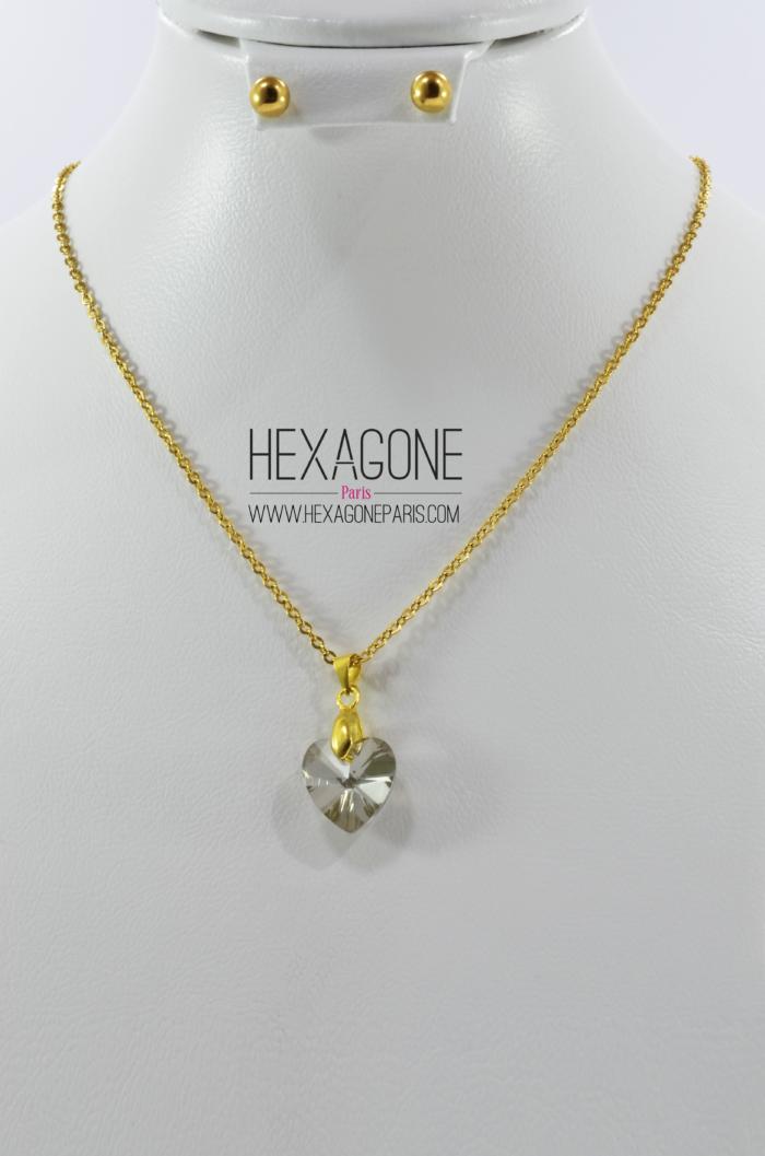 0e56198416d2 HEXAGONE PARIS Joyería - Juego Collar Dije 10mm Aretes 5mm en Acero color  Dorado con Zircon - Corazon