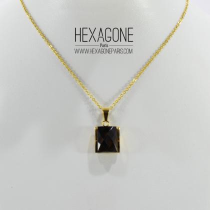 cbef2c8d4c72 HEXAGONE PARIS Joyería – Juego Collar Dije 15mm Aretes 10mm en Acero color  Dorado con Zircon Facetado Cafe